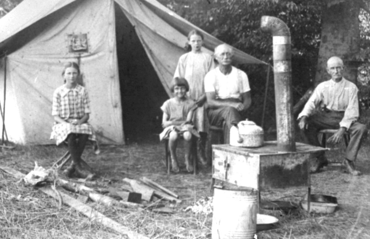 J.P. Palmer at campsite newr Burlington