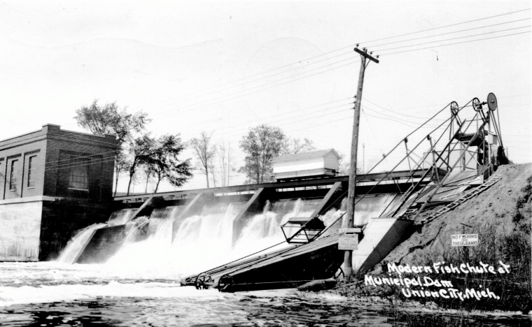 Riley Dam Fish Chute - Postmark 1944 - Fish Chute added