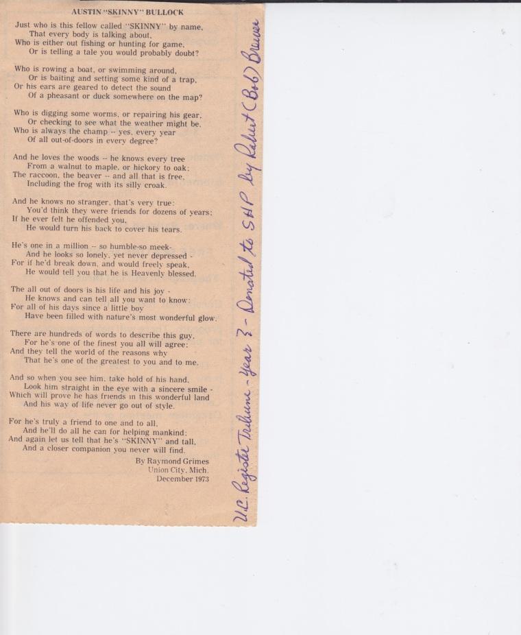 Skinny Bullock Poem